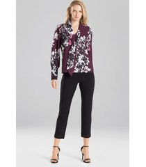 natori bouquet tie front blouse, women's, purple, size xs natori