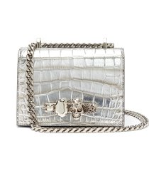 'the small jewelled satchel' in croc embossed leather swarovski crystal knuckle