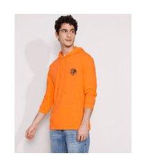camiseta masculina manga longa com capuz e bolso canguru laranja