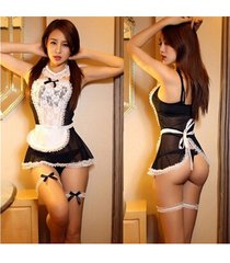 black sheer lace costume cosplay french maid sexy lingerie outfit fancy dress