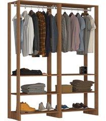 guarda roupa closet 2 peças c/ 2 cabideiros e 3 nichos yes nova mobile