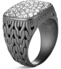 'classic chain' diamond rhodium silver signet ring