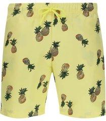 pantalóneta de baño piñas color amarillo, talla m
