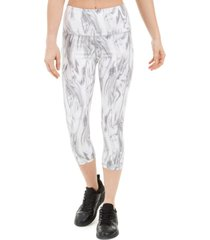 ideology marble-print high-waist cropped leggings, created for macy's