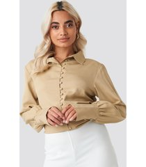 na-kd button detailed blouse - beige