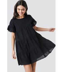 na-kd boho broiderie anglais mini dress - black