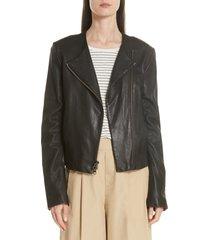 women's vince zip cross front leather jacket