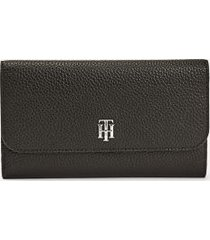 tommy hilfiger women's long wallet black -