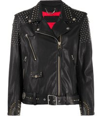 golden goose studded biker jacket - black