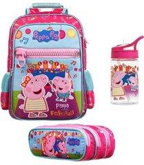 mochila escolar peppa pig de costa dermiwil com estojo e garrafinha