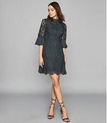 reiss agatha - flute sleeve lace dress in teal, womens, size 12