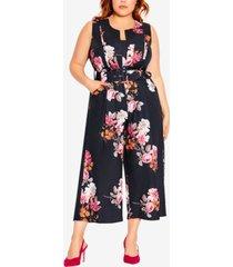 city chic trendy plus size floral crush jumpsuit