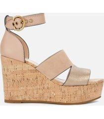 coach women's isla metallic/cork wedged sandals - dusty gold/beachwood - uk 7