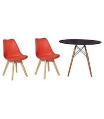 kit mesa jantar eiffel 80cm preta + 02 cadeiras leda - vermelha