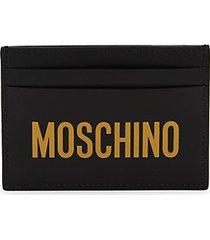logo leather card case