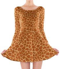 giraffe print longsleeve skater dress