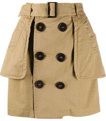 dsquared2 peplum buttoned skirt - brown