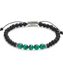 effy men's sterling silver, lava & malachite beaded bracelet