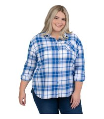 ug apparel plus size women's kentucky wildcats flannel boyfriend plaid button-up shirt