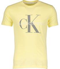 calvin klein t-shirt - slim fit - geel