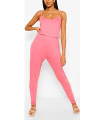 basic cami strappy jumpsuit, coral