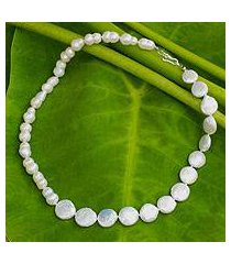 cultured pearl strand necklace, 'rising lily' (thailand)