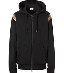 vintage check paneled hoodie, black