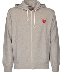 comme des garçons back logo print zipped hoodie