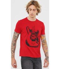 camiseta ellus rock in roll vermelha/amarelo