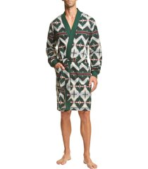 men's polo ralph lauren brushed fleece robe, size small/medium - green