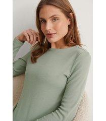 na-kd lingerie återvunnen mjukt ribbstickad topp med rund halsringning - green