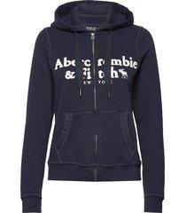 anf womens sweatshirts hoodie trui blauw abercrombie & fitch