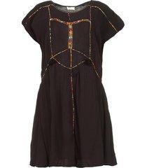 jurk met geborduude details shelter  zwart