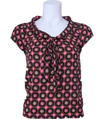 blouse dept - bruin / roze / creme / zwart