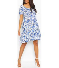 maternity floral woven smock dress, blue
