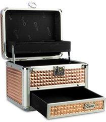 maleta de maquiagem cisne em alumínio 2 bandejas rose dourada