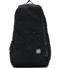 stone island zip-up backpack - black