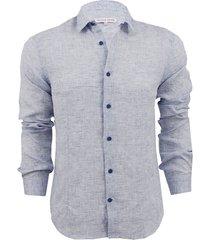morton linen navy tailored linen shirt