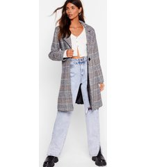 womens check up on 'em button-down trench coat - grey