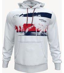 tommy hilfiger men's essential graphic popover hoodie bright white - xxxl