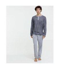 pijama masculino listrado manga longa