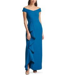 vince camuto off-the-shoulder ruffled gown