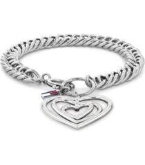 tommy hilfiger women's silver-tone stainless steel metal heart bracelet