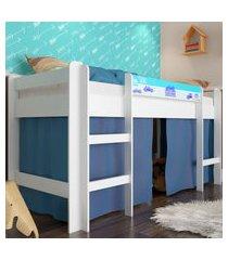 cama elevada com escada e espaço brincar azul lilies
