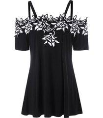 contrast lace applique cold shoulder t-shirt