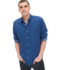 camisa lino blend print azul gap