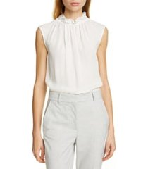 women's tailored by rebecca taylor ruffle neck silk georgette top, size x-large - ivory