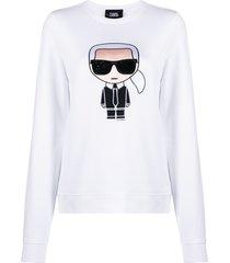 karl lagerfeld ikonik rhinestone sweatshirt - white
