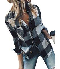 botón negro diseño plaid classic blusa de cuello