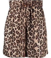 alberto biani leopard-print silk shorts - brown